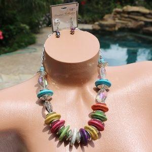 Chunky Multi Stone & Bead Boho Statement Necklace